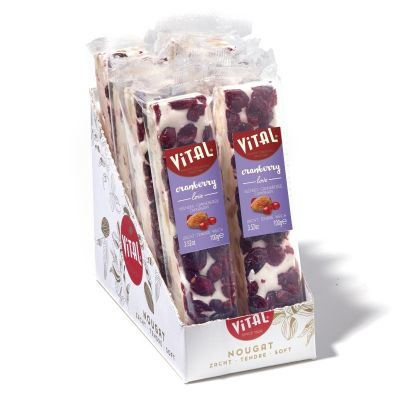 Luxe nougat reep cranberry smaak